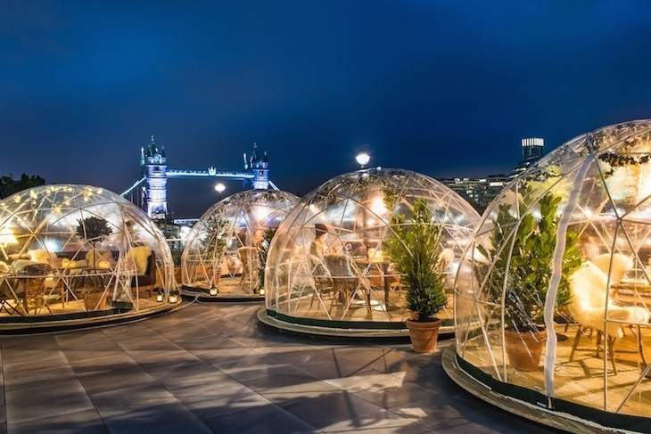 A Christmas experience igloo huts skylight london